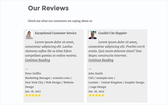 preview of a reviews page in WordPress