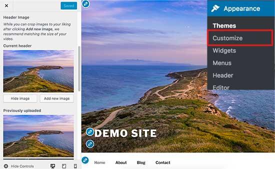 Changing header image in WordPress