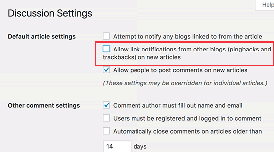 Disable pings on all new articles