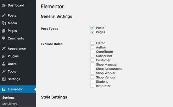 Elementor settings