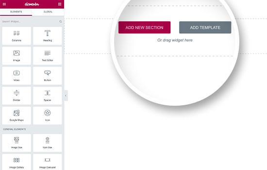 Elementor builder interface