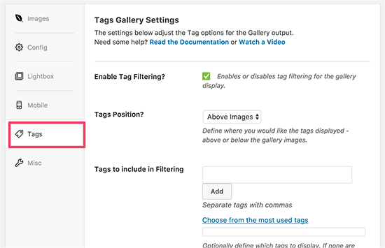 Enable filtering for your gallery