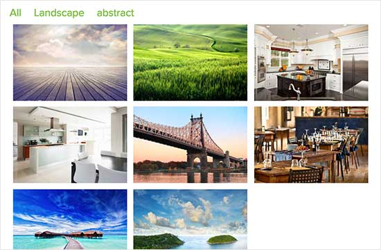 Preview of a filterable portfolio gallery