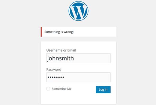 No login hints in WordPress