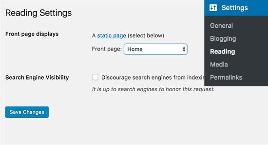 Choisissez une page d'accueil statique