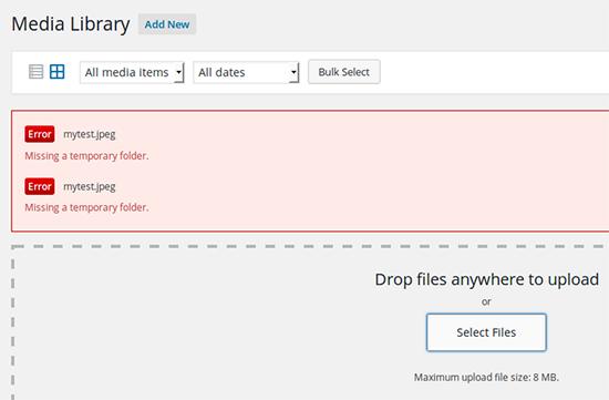 Missing temporary folder error