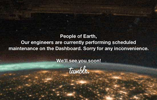 Tumblr maintenance page example