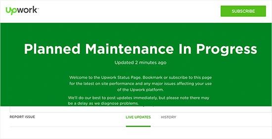 Upwork maintenance page with status updates