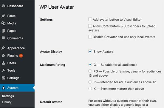WP User Avatar settings