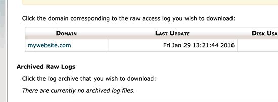 Download access log file