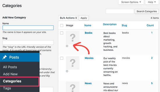 Add category images in WordPress