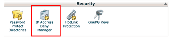 IP Address Deny Manager tool in cPanel