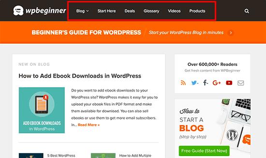 Navigation menu on a WordPress site
