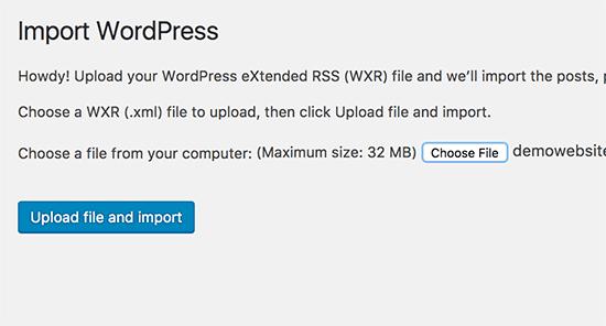 Importing WordPress XML file