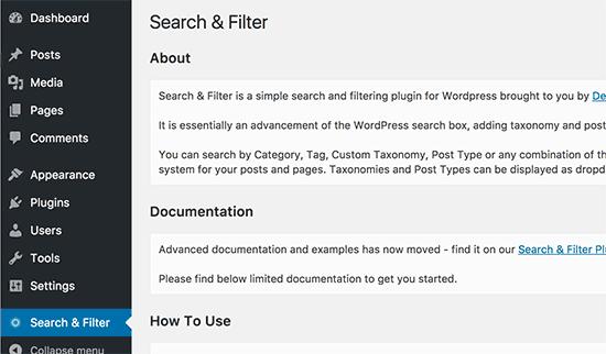 Search & Filter plugin documentation