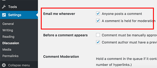Turn off comment notification emails