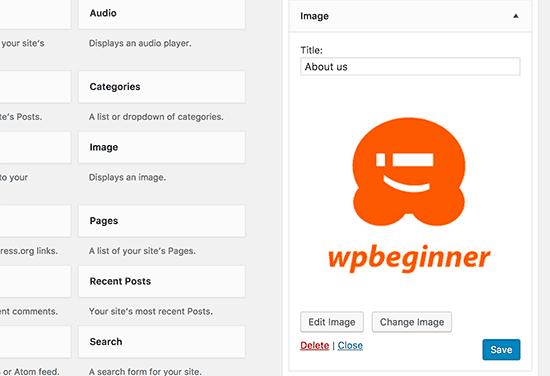Image widget preview