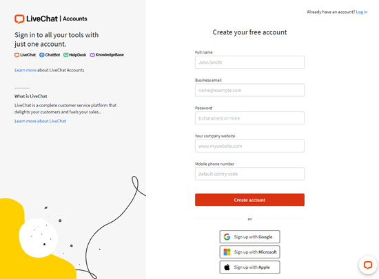 Creating your free trial account with LiveChat