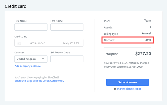 Your LiveChat discount code has been automatically applied