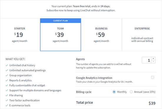 Choose your LiveChat subscription plan