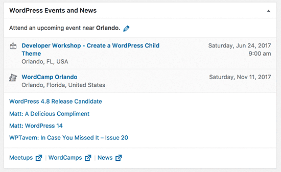 WordPress events and news widget