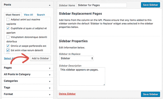 Add posts or pages to your custom sidebar
