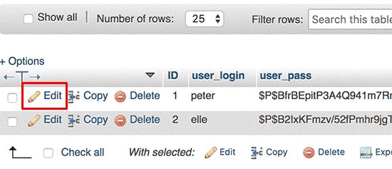 Editing user in phpMyAdmin