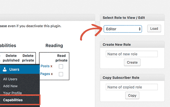 Select Editor user role to edit
