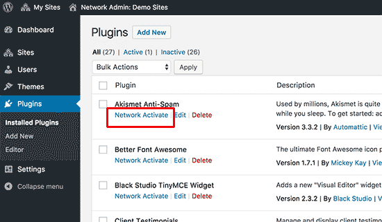 Network activate plugins on a WordPress multisite