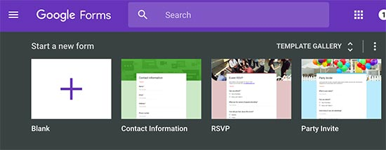 Creating a new form in Google Forms