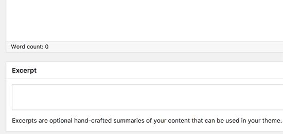 Excerpt metabox on the page edit screen in WordPress