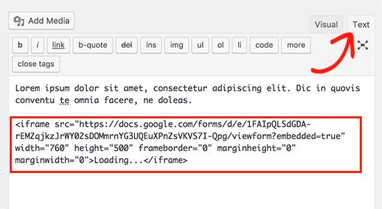 Paste Google Forms embed code in WordPress post
