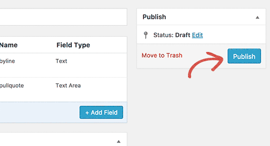 Publish your field group