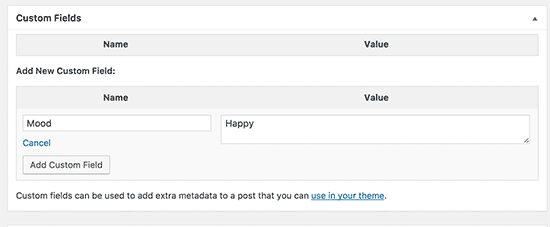 Adding custom field to a WordPress post or page