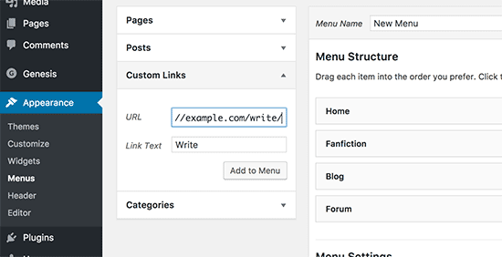 Add user menus for fanfiction writers