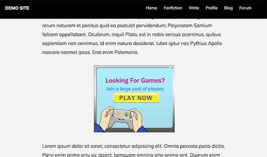 Ad displayed inside a WordPress post