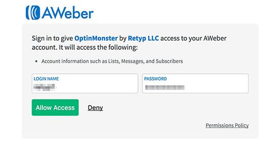 AWeber allow access