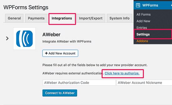Integrating AWeber to WPForms