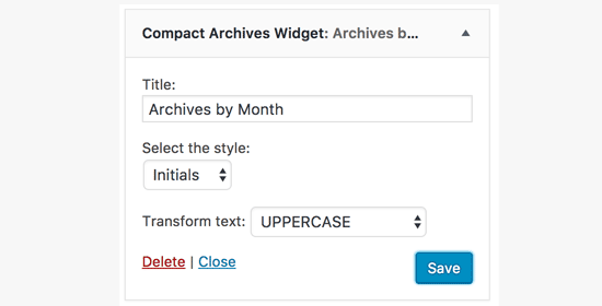 Compact Archives settings