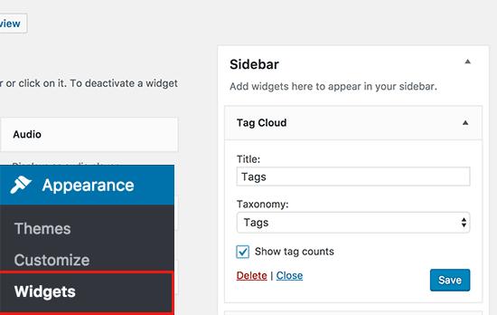 Default tag cloud widget in WordPress