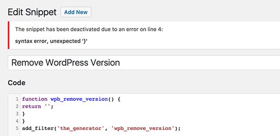 Error handling in your custom code snippet