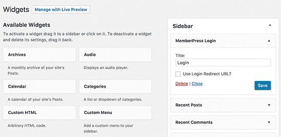 MemberPress login widget