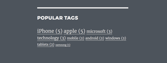 Popular tags with post count