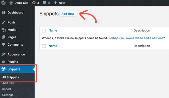 Add new custom code snippet