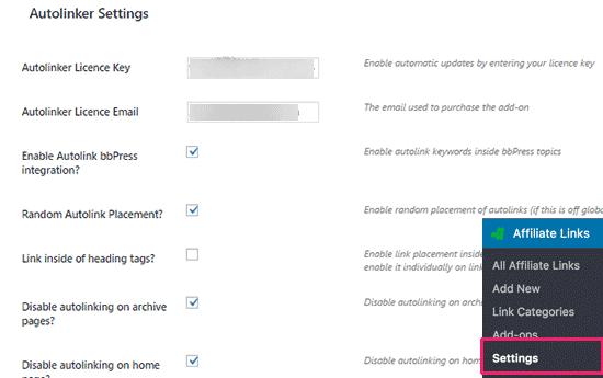 Autolinker settings