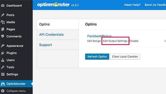 Edit output settings