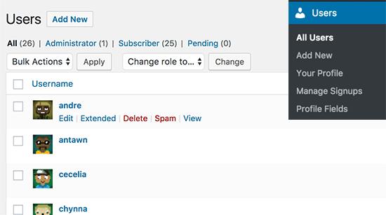 Managing user accounts