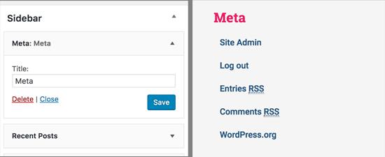Meta widget in WordPress