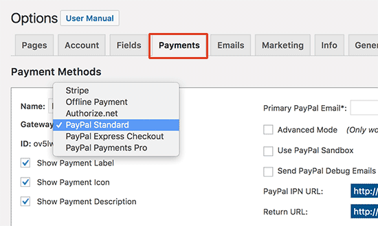 Setup payment gateway