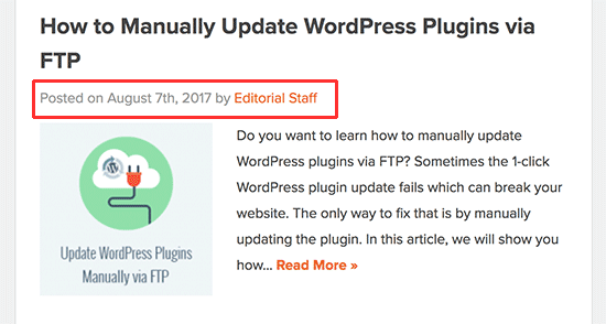 Post meta data shown in a WordPress blog post